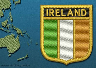 This Flag of Ireland Shield with a Gold border design was digitized and embroidered by www.embroidery.design.