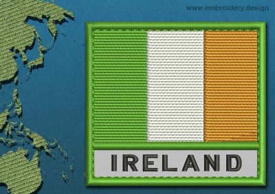 This Flag of Ireland Text with a Colour Coded border design was digitized and embroidered by www.embroidery.design.