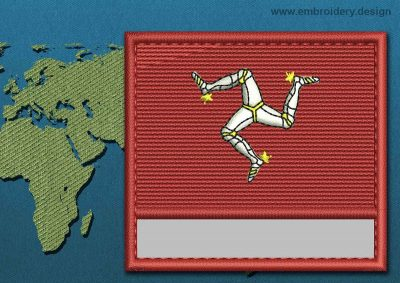 This Flag of Isle of Man Customizable Text  with a Colour Coded border design was digitized and embroidered by www.embroidery.design.