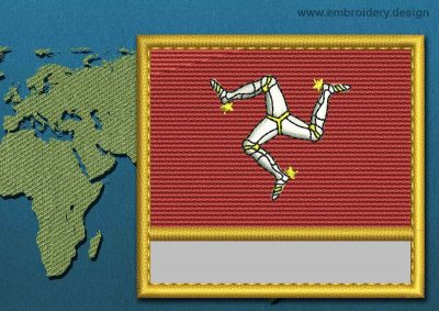 This Flag of Isle of Man Customizable Text  with a Gold border design was digitized and embroidered by www.embroidery.design.