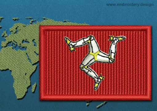 This Flag of Isle of Man Mini with a Colour Coded border design was digitized and embroidered by www.embroidery.design.