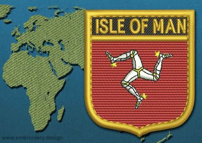This Flag of Isle of Man Shield with a Gold border design was digitized and embroidered by www.embroidery.design.