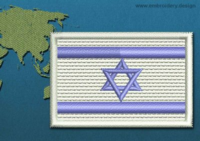 This Flag of Israel Mini with a Colour Coded border design was digitized and embroidered by www.embroidery.design.