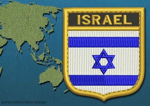 This Flag of Israel Shield with a Gold border design was digitized and embroidered by www.embroidery.design.