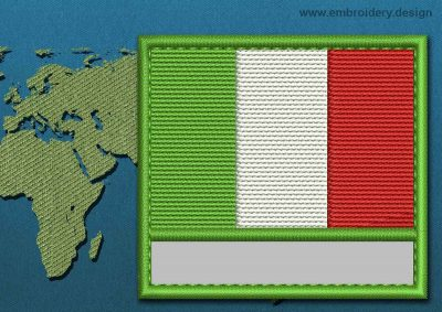 This Flag of Italy Customizable Text  with a Colour Coded border design was digitized and embroidered by www.embroidery.design.