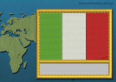 This Flag of Italy Customizable Text  with a Gold border design was digitized and embroidered by www.embroidery.design.