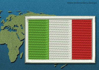 This Flag of Italy Mini with a Colour Coded border design was digitized and embroidered by www.embroidery.design.