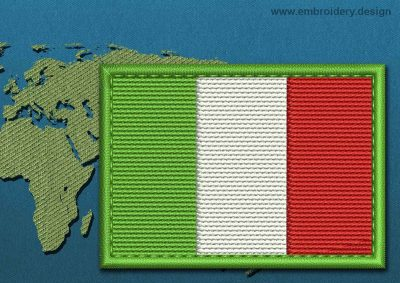 This Flag of Italy Rectangle with a Colour Coded border design was digitized and embroidered by www.embroidery.design.