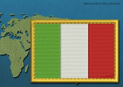This Flag of Italy Rectangle with a Gold border design was digitized and embroidered by www.embroidery.design.