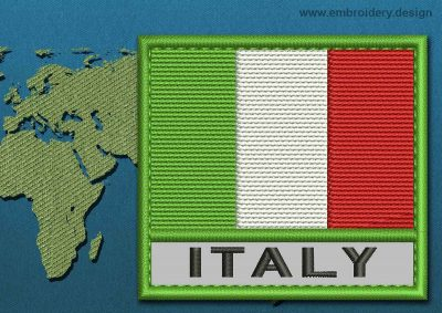 This Flag of Italy Text with a Colour Coded border design was digitized and embroidered by www.embroidery.design.