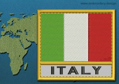 This Flag of Italy Text with a Gold border design was digitized and embroidered by www.embroidery.design.