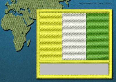 This Flag of Ivory Coast Customizable Text  with a Colour Coded border design was digitized and embroidered by www.embroidery.design.