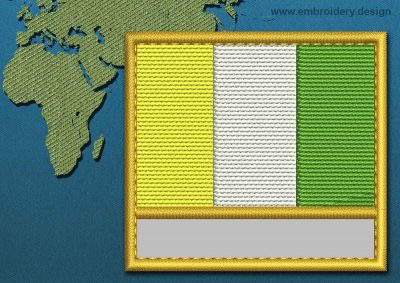 This Flag of Ivory Coast Customizable Text  with a Gold border design was digitized and embroidered by www.embroidery.design.