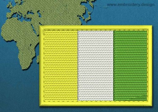 This Flag of Ivory Coast Rectangle with a Colour Coded border design was digitized and embroidered by www.embroidery.design.