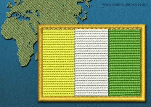 This Flag of Ivory Coast Rectangle with a Gold border design was digitized and embroidered by www.embroidery.design.