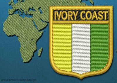 This Flag of Ivory Coast Shield with a Gold border design was digitized and embroidered by www.embroidery.design.