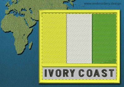 This Flag of Ivory Coast Text with a Colour Coded border design was digitized and embroidered by www.embroidery.design.