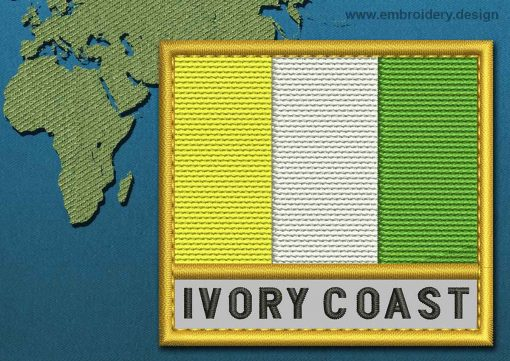 This Flag of Ivory Coast Text with a Gold border design was digitized and embroidered by www.embroidery.design.