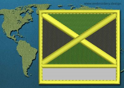 This Flag of Jamaica Customizable Text  with a Colour Coded border design was digitized and embroidered by www.embroidery.design.