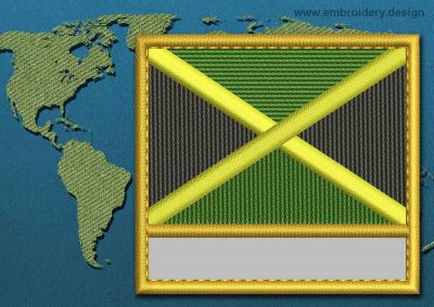 This Flag of Jamaica Customizable Text  with a Gold border design was digitized and embroidered by www.embroidery.design.