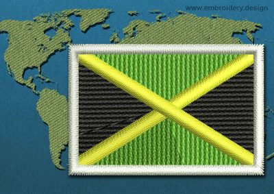 This Flag of Jamaica Mini with a Colour Coded border design was digitized and embroidered by www.embroidery.design.