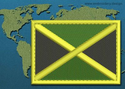 This Flag of Jamaica Rectangle with a Colour Coded border design was digitized and embroidered by www.embroidery.design.