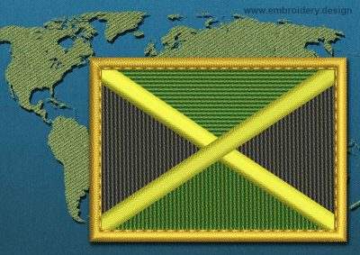 This Flag of Jamaica Rectangle with a Gold border design was digitized and embroidered by www.embroidery.design.