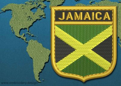 This Flag of Jamaica Shield with a Gold border design was digitized and embroidered by www.embroidery.design.