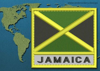 This Flag of Jamaica Text with a Colour Coded border design was digitized and embroidered by www.embroidery.design.