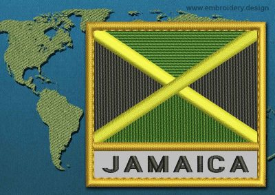 This Flag of Jamaica Text with a Gold border design was digitized and embroidered by www.embroidery.design.