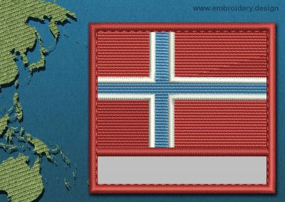 This Flag of Jan Mayen Customizable Text  with a Colour Coded border design was digitized and embroidered by www.embroidery.design.