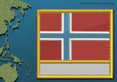 This Flag of Jan Mayen Customizable Text  with a Gold border design was digitized and embroidered by www.embroidery.design.