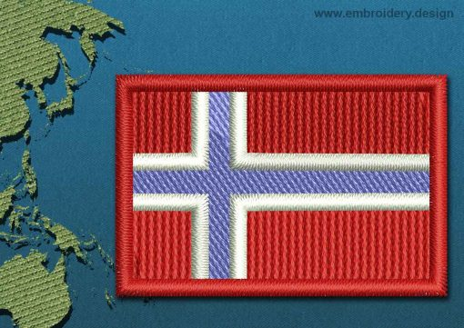 This Flag of Jan Mayen Mini with a Colour Coded border design was digitized and embroidered by www.embroidery.design.