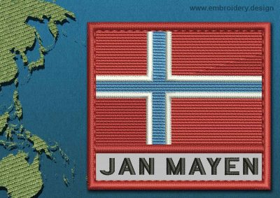 This Flag of Jan Mayen Text with a Colour Coded border design was digitized and embroidered by www.embroidery.design.