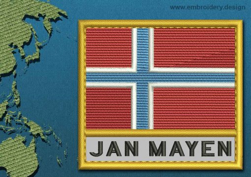 This Flag of Jan Mayen Text with a Gold border design was digitized and embroidered by www.embroidery.design.