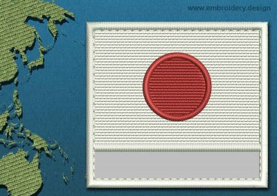 This Flag of Japan Customizable Text  with a Colour Coded border design was digitized and embroidered by www.embroidery.design.