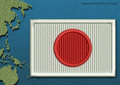 This Flag of Japan Mini with a Colour Coded border design was digitized and embroidered by www.embroidery.design.