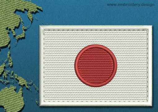 This Flag of Japan Rectangle with a Colour Coded border design was digitized and embroidered by www.embroidery.design.