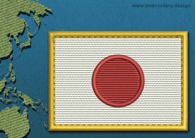 This Flag of Japan Rectangle with a Gold border design was digitized and embroidered by www.embroidery.design.