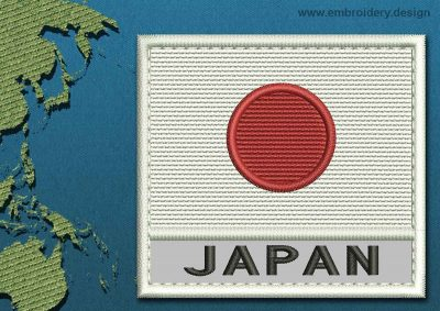 This Flag of Japan Text with a Colour Coded border design was digitized and embroidered by www.embroidery.design.