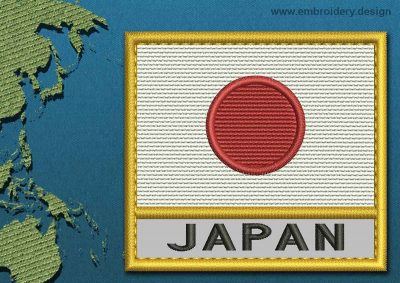 This Flag of Japan Text with a Gold border design was digitized and embroidered by www.embroidery.design.