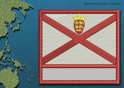 This Flag of Jersey Customizable Text  with a Colour Coded border design was digitized and embroidered by www.embroidery.design.