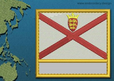 This Flag of Jersey Customizable Text  with a Gold border design was digitized and embroidered by www.embroidery.design.