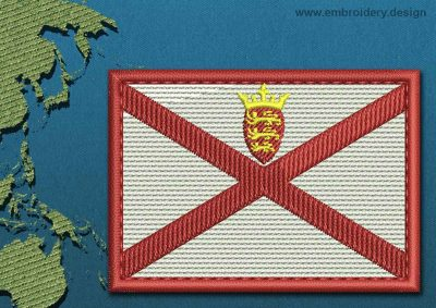 This Flag of Jersey Rectangle with a Colour Coded border design was digitized and embroidered by www.embroidery.design.