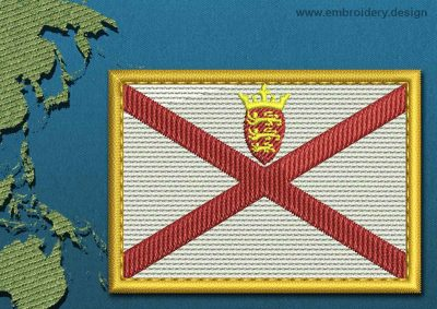 This Flag of Jersey Rectangle with a Gold border design was digitized and embroidered by www.embroidery.design.