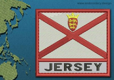This Flag of Jersey Text with a Colour Coded border design was digitized and embroidered by www.embroidery.design.