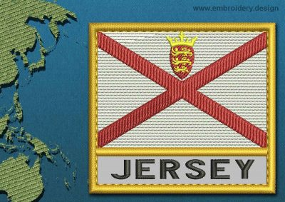 This Flag of Jersey Text with a Gold border design was digitized and embroidered by www.embroidery.design.