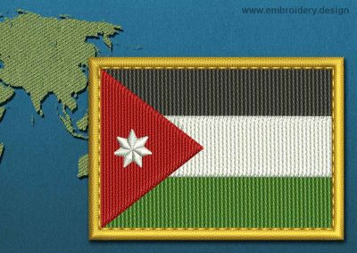 This Flag of Jordan Rectangle with a Gold border design was digitized and embroidered by www.embroidery.design.