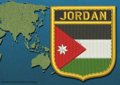 This Flag of Jordan Shield with a Gold border design was digitized and embroidered by www.embroidery.design.