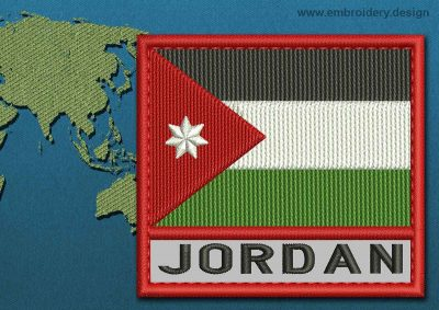 This Flag of Jordan Text with a Colour Coded border design was digitized and embroidered by www.embroidery.design.